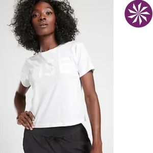 Athleta Rise Crop Tee, white, S